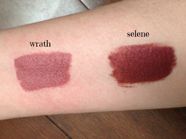 Black Moon Cosmetics - swatches wrath & selene
