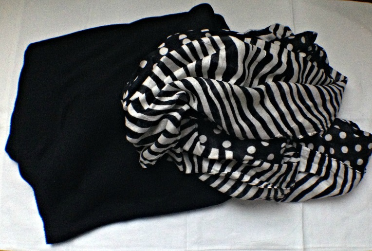 Black poncho wrap and black & white infinity scarf