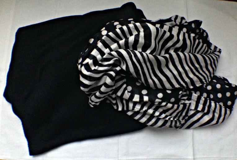 Black poncho wrap and black & white infinity scarf