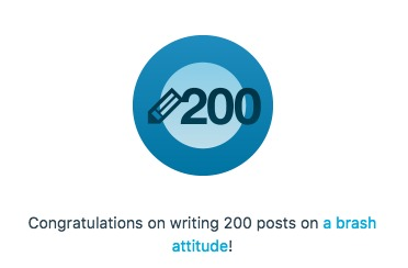 a brash attitude blog milestone