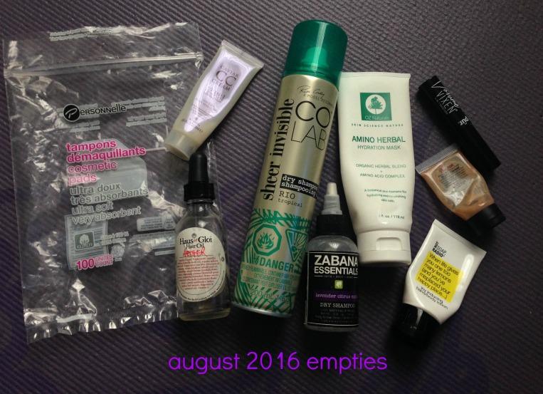 August 2016 Empties