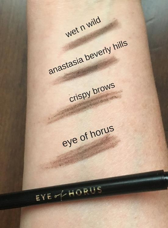 Eye of Horus Brow Define Comparison Swatches