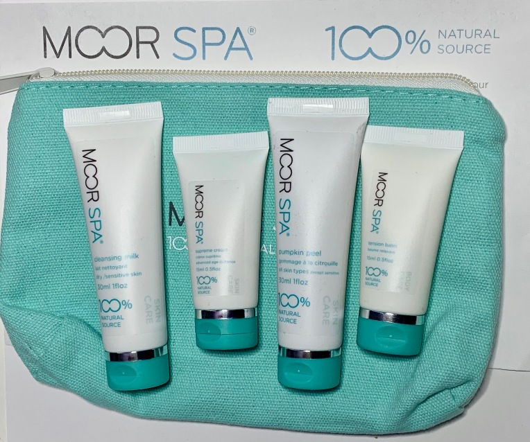 Moor Spa Cleansing Milk, Supreme Cream, Pumpkin Peel, and Tension Balm